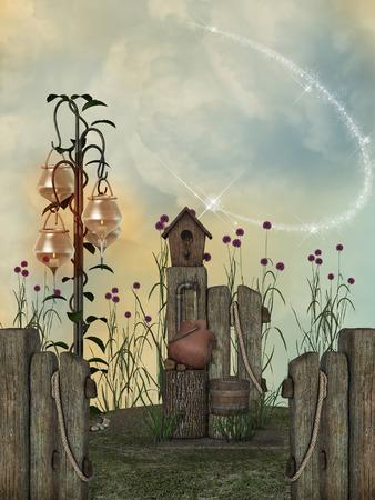 Fantasie landschap in de tuin met lampen en vogelhuis