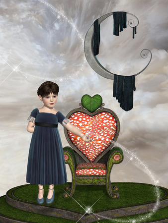 manipulate: Fantasy landscape with girl in a throne