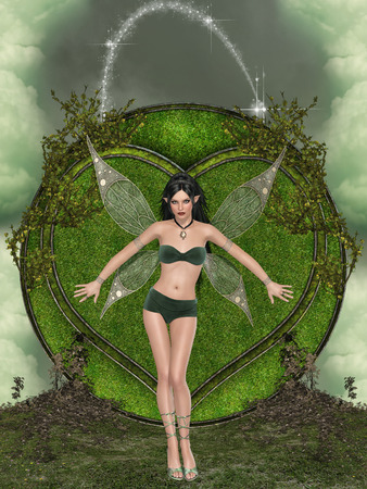 enchanting: Fantasy landscape with big grass heart and fairy Stock Photo