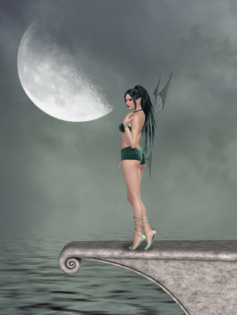 fantasy woman: Fantasy landscape inthe ocean with pier and fairy