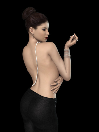 sexy woman: sexy young woman in black with pearl