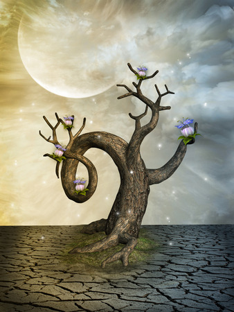 enchanting: Fantasy landscape in the desert with old tree Stock Photo