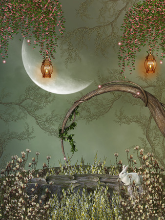 fairy garden: Fantasy landscape in the forest with rabbit