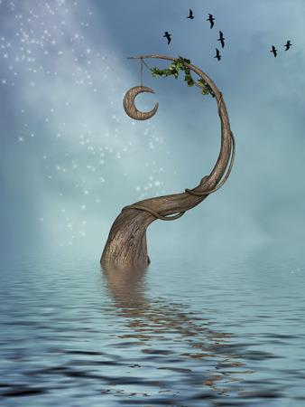 scenario: fantasy landscape in the lake with old tree Stock Photo