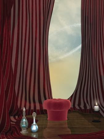 red curtain: Fantasy stage with red curtain bench and bottle Stock Photo
