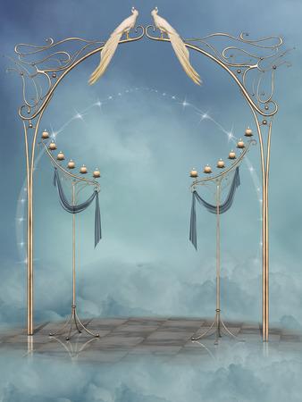 scenario: Fantasy landscape in the heaven with birds