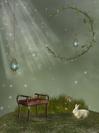 scenario: Fantasy landscape with leaf moon and rabbit