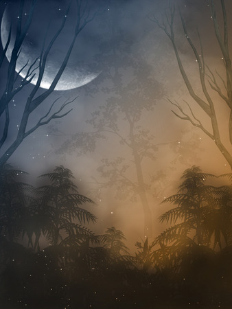 Fantasy landscape in the forest with big moon