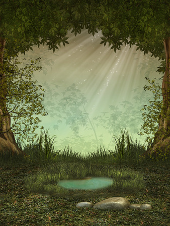 fairy tale princess: Fantasy landscape in the forest with a pond