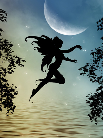 moon and stars: fairy silhouette in a lake with big moon Stock Photo