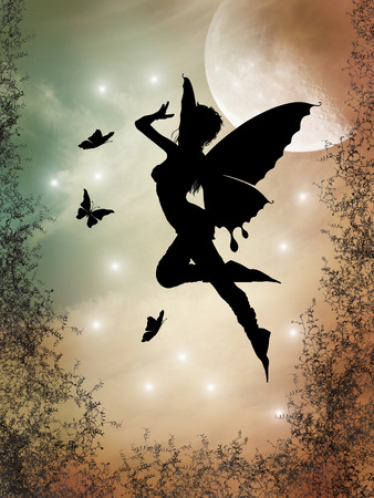 fairy wings: fairy silhouette in a forest with big moon Stock Photo