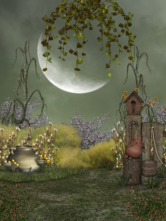 Fantasy landscape in the garden with big moon Banque d'images