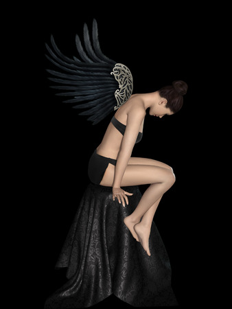 sexy angel: Angel dark portrait in a black stage Stock Photo