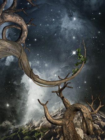 Fantasy landscape with old tree in the galaxy Stock Photo