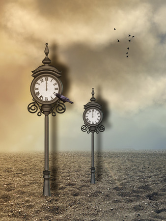 Fantasy landscape in the desert with clock Stock Photo