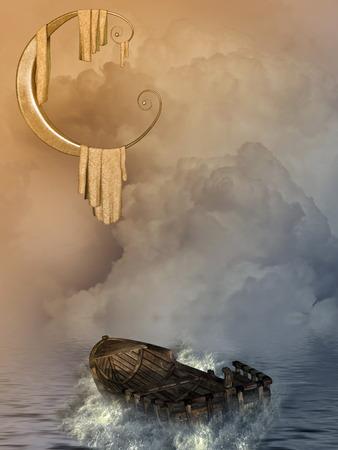 scenario: Fantasy landscape with boat and big moon