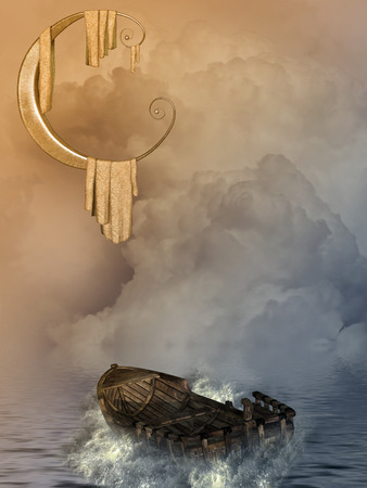 enchanting: Fantasy landscape with boat and big moon
