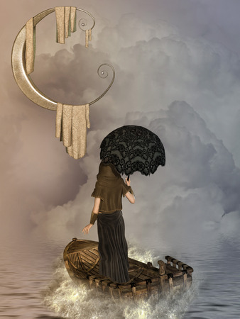 big boat: Fantasy landscape with boat and big moon