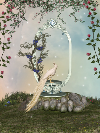 scenario: Fantasy landscape with stage in the garden and bird Stock Photo