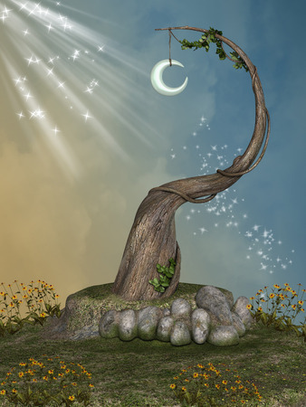 enchanting: Fantasy landscape with old tree and moon