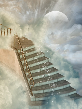 fantasy background: Fantasy landscape in the heaven with stairs Stock Photo