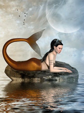 sexy girls: Fantasy landscape with mermaid in the ocean Stock Photo