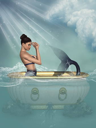 woman underwater: Fantasy landscape with mermaid in the ocean Stock Photo