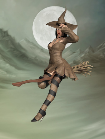 manipulate: witch in a broom flying in the sky