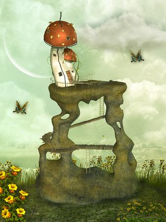 enchanting: Fantasy landscape in the garden with mushroom