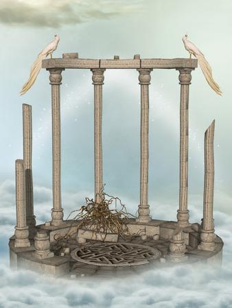 scenario: Fantasy landscape in the sky with birds