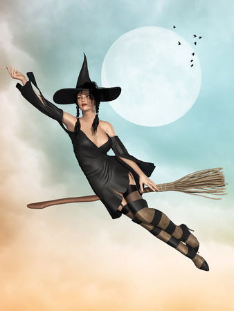 witch in a broom flying in the sky