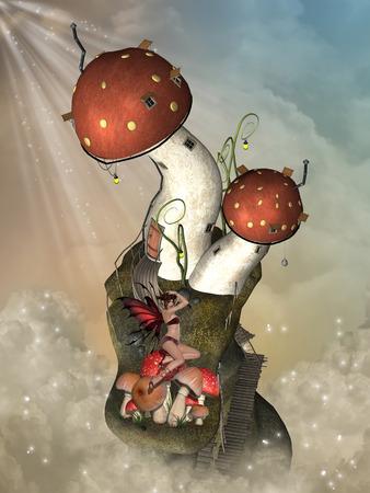 scenario: Fantasy landscape in the sky with mushroom