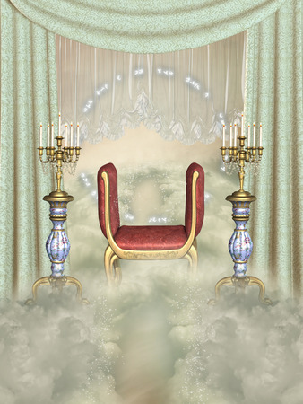chandelier  kids: Fantasy scene in the sky with curtain Stock Photo