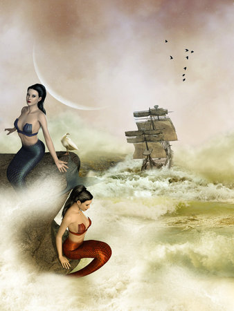 beauty girls: Fantasy landscape with mermaid in the ocean Stock Photo