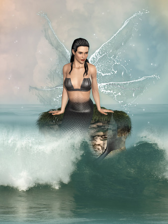 animal sexy: Fantasy landscape with mermaid in the ocean Stock Photo