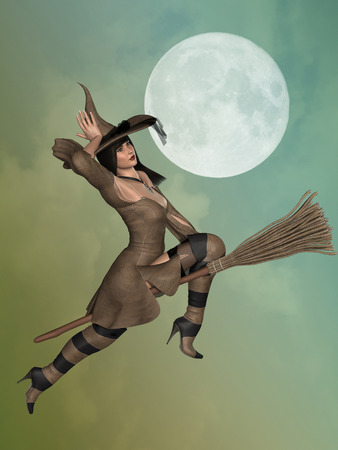 3d witch: witch with a broom flying in the sky