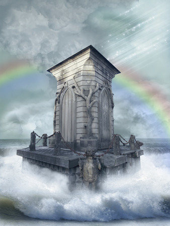 manipulation: Fantasy landscape in the ocean with old structure