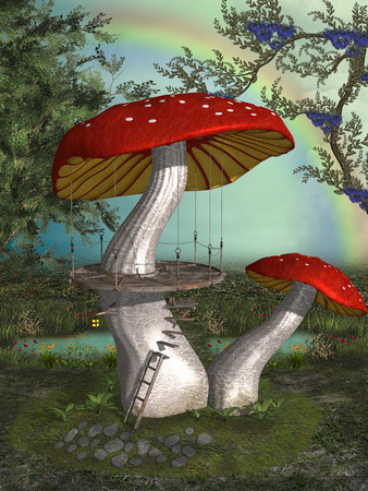 enchanting: antasy landscape in the garden with mushroom