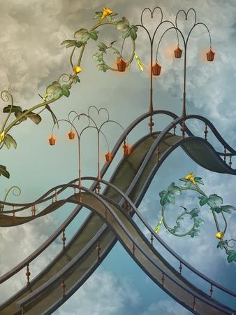 Fantasy landscape in the sky with bridge