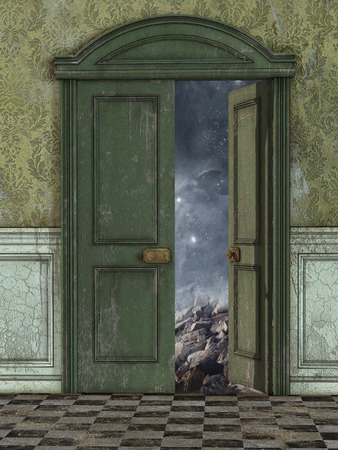 mysterious: Magic door with galaxy and stars outside
