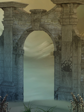 fantasy world: Magic door in the desert with flowers