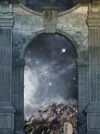 magische deur met galaxy binnen en oude structuur