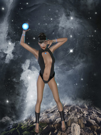 cyber woman: cyber woman in the sky with a neon ball