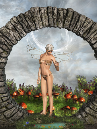 fairy garden: fairy in a gate with garden and pond Stock Photo