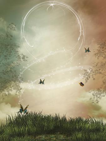 mariposa: paisaje de fantas�a con las chispas y la mariposa