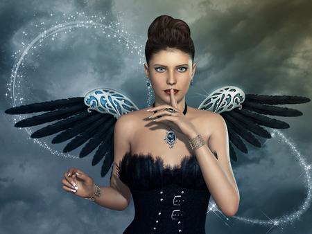 cloudy day: dark angel in a cloudy day with sparkles Stock Photo