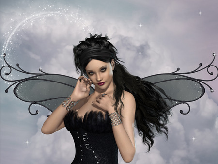butterfly myth: dark fairy with feather corset and sparkles Stock Photo