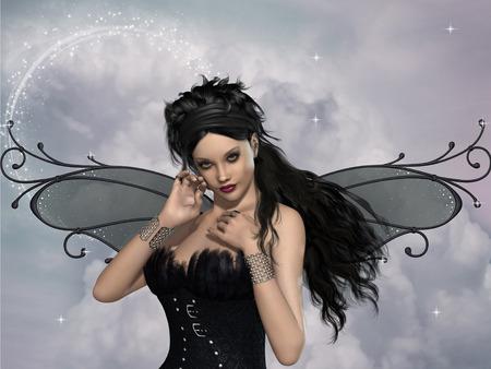 donna farfalla: fata scuro con corsetto piuma e scintille