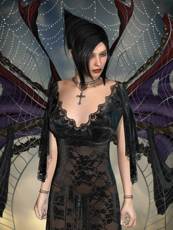 dark angel: Dark angel with lace dress and wings