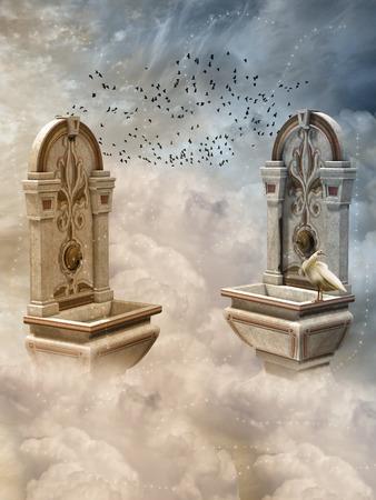 cielo: Paisaje de la fantasía en el cielo con las aves Foto de archivo